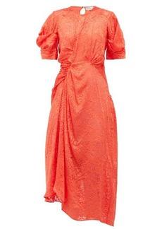 Preen By Thornton Bregazzi Lally floral asymmetric satin-devoré dress