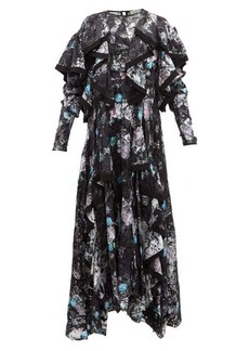 Preen By Thornton Bregazzi Liza ruffled floral satin-devoré dress