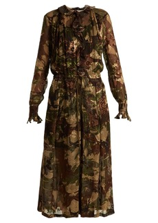 Preen By Thornton Bregazzi Lucinda camouflage-print hammered silk dress