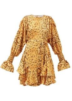 Preen By Thornton Bregazzi Lupita snake print floral-jacquard mini dress