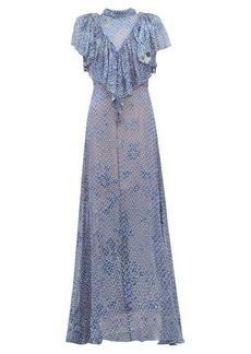 Preen By Thornton Bregazzi Lyla graphic-print ruffled devoré maxi dress