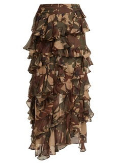 Preen By Thornton Bregazzi Melena camouflage-print ruffle skirt