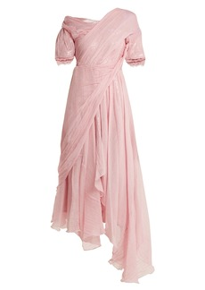 Preen By Thornton Bregazzi Moira asymmetric silk-chiffon dress