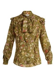 Preen By Thornton Bregazzi Molly ruffle-trim floral-print silk blouse