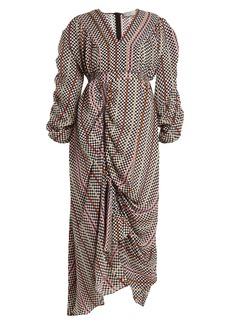 Preen By Thornton Bregazzi Monica hammered-silk checked dress