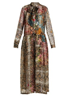 Preen By Thornton Bregazzi Natasha snake print silk-blend devoré dress