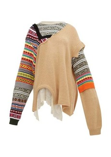 Preen By Thornton Bregazzi Naya Fair Isle knit patchwork cotton sweater