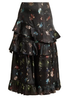 Preen By Thornton Bregazzi Naya floral-jacquard ruffled skirt