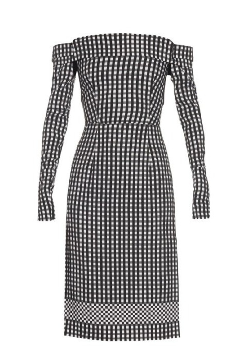 Preen By Thornton Bregazzi Olivia off-the-shoulder gingham dress