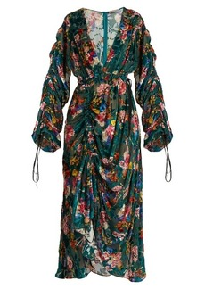 Preen By Thornton Bregazzi Opal floral-print velvet-devoré midi dress