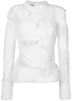 Preen patchwork knit and lace sweater