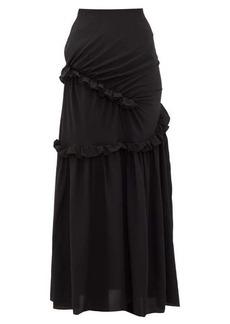 Preen By Thornton Bregazzi Pheodora ruffle-trim silk crepe de Chine skirt