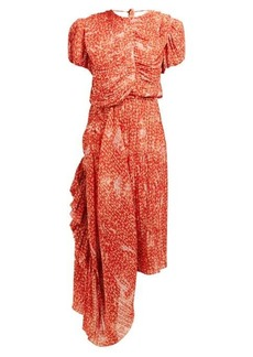 Preen By Thornton Bregazzi Ronnie floral-print asymmetric plissé midi dress