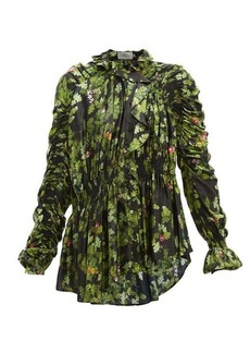 Preen By Thornton Bregazzi Sara oak leaf-print ruffled satin blouse