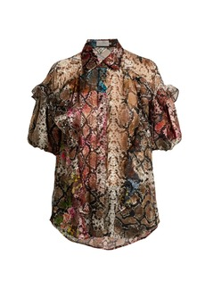 Preen By Thornton Bregazzi Saskia floral and snake-print satin devoré blouse