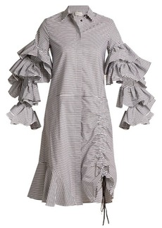 Preen By Thornton Bregazzi Shona detachable-sleeve striped cotton dress