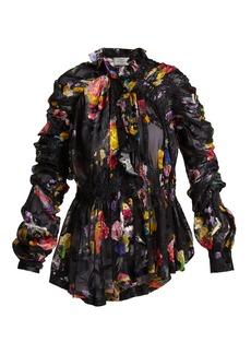 Preen By Thornton Bregazzi Sidone silk-devoré blouse
