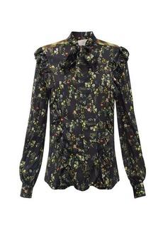 Preen By Thornton Bregazzi Tasha ruffled floral-print silk-blend blouse