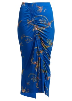 Preen By Thornton Bregazzi Tracy floral-print ruched midi skirt