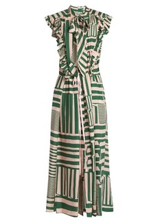 Preen By Thornton Bregazzi Willa geometric-print silk midi dress