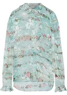 Preen By Thornton Bregazzi Woman Alaric Ruffle-trimmed Floral-print Burnout Silk-blend Blouse Mint