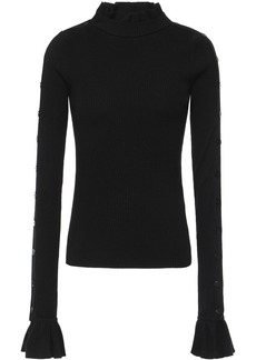 Preen By Thornton Bregazzi Woman Amanda Ribbed Wool Turtleneck Sweater Black