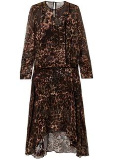 Preen By Thornton Bregazzi Woman Andrea Asymmetric Leopard-print Burnout Silk-blend Dress Animal Print