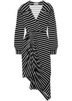 Preen By Thornton Bregazzi Woman Annabel Asymmetric Ruched Striped Stretch-jersey Dress Black