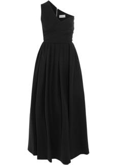 Preen By Thornton Bregazzi Woman April One-shoulder Pleated Crepe Midi Dress Black