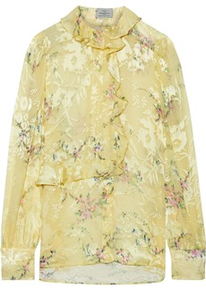 Preen By Thornton Bregazzi Woman Athena Ruffle-trimmed Floral-print Burnout Satin Blouse Pastel Yellow