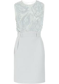 Preen By Thornton Bregazzi Woman Atmosphere Beaded Chiffon And Crepe Mini Dress Azure