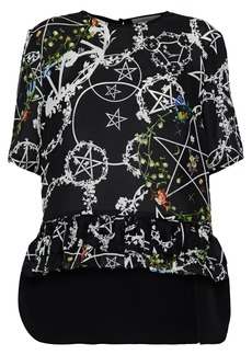 Preen By Thornton Bregazzi Woman Bonamy Ruffle-trimmed Printed Silk-blend Blouse Black