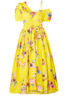 Preen By Thornton Bregazzi Woman Domino Floral-print Silk-blend Cloqué Midi Dress Yellow