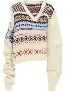 Preen By Thornton Bregazzi Woman Kyra Lace-paneled Cutout Intarsia Wool Sweater Ivory