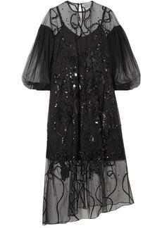 Preen By Thornton Bregazzi Woman Lois Asymmetric Embellished Tulle Midi Dress Black