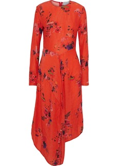 Preen By Thornton Bregazzi Woman Marcello Asymmetric Floral-print Hammered-silk Dress Papaya
