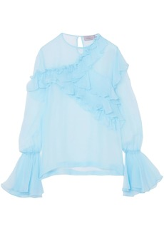 Preen By Thornton Bregazzi Woman Marika Ruffled Silk-chiffon Blouse Light Blue