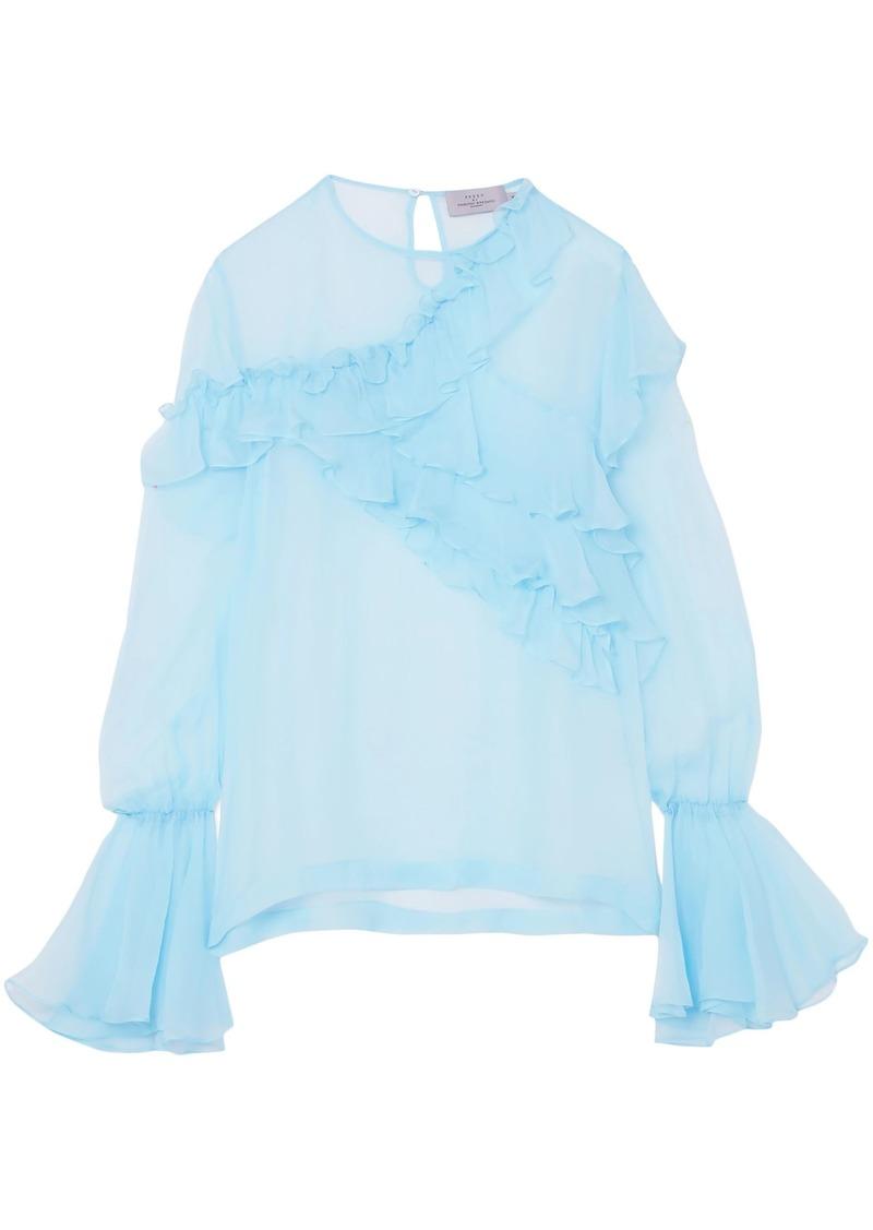 Preen By Thornton Bregazzi Woman Marika Ruffled Silk-chiffon Blouse Light Blue