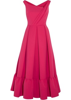 Preen By Thornton Bregazzi Woman Palmer Pleated Stretch-crepe Midi Dress Fuchsia