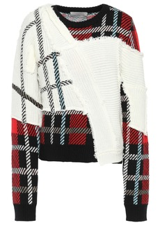 Preen By Thornton Bregazzi Woman Paneled Frayed Checked Knitted Sweater Ivory