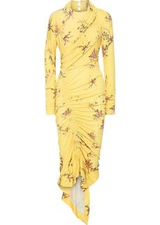 Preen By Thornton Bregazzi Woman Louise Asymmetric Floral-print Crepe-jersey Midi Dress Yellow