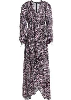 Preen By Thornton Bregazzi Woman Ruched Devoré Floral-print Chiffon Maxi Dress Lavender