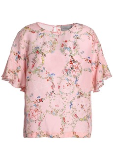 Preen By Thornton Bregazzi Woman Sarah Floral-print Hammered-silk Top Baby Pink