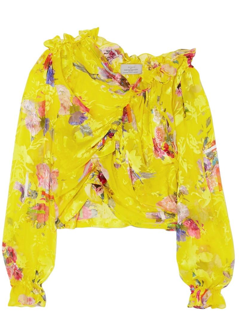 Preen By Thornton Bregazzi Woman Shelly Ruched Devoré Silk-blend Satin Top Yellow