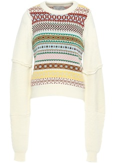 Preen By Thornton Bregazzi Woman Sia Intarsia Wool Sweater Ivory