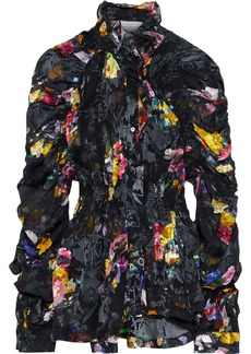 Preen By Thornton Bregazzi Woman Sidonie Shirred Floral-print Burnout Silk-blend Blouse Black