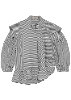 Preen By Thornton Bregazzi Woman Sinead Ruffled Striped Cotton-poplin Blouse Gray