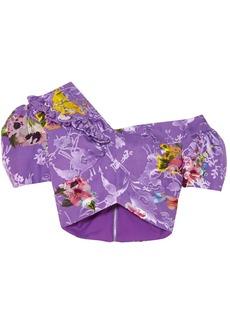 Preen By Thornton Bregazzi Woman Valentina Ruffled Floral-print Fil Coupé Silk-blend Top Violet