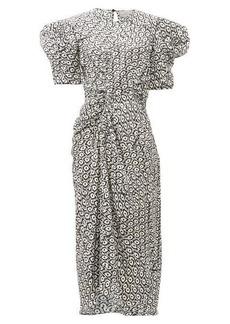 Preen By Thornton Bregazzi Xantha scale-print draped-sleeve satin dress