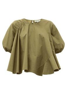 Preen Line Agnes asymmetric cotton-poplin blouse